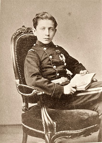 Louis-Napoléon Bonaparte, Prince Imperial, in 1870, age 14, wearing the uniform of an infantry sub-lieutenant, photographed by Augustin Aimé Joseph Le Jeune