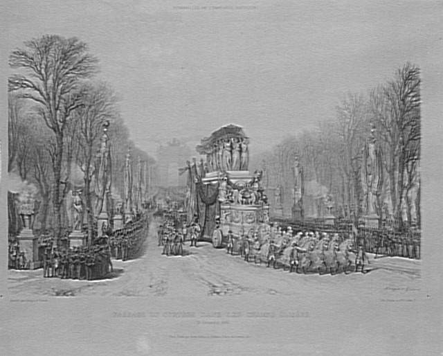Napoleon's funeral carriage moving along the Champs-Élysées, by Louis-Julien Jacottet