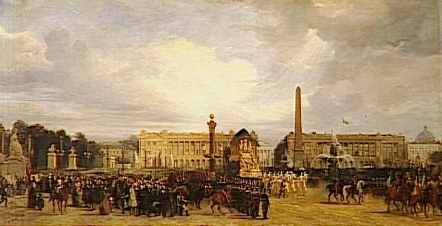 Napoleon's funeral carriage crossing the Place de la Concorde, by Jacques Guiaud