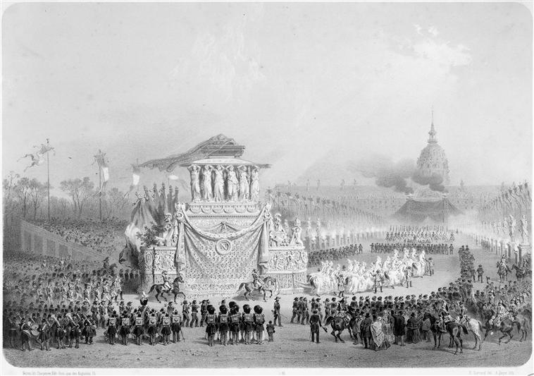 Napoleon's funeral carriage moving towards Les Invalides, by Adolphe Jean-Baptiste Bayot and Eugène Charles François Guérard