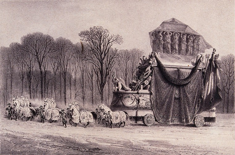 Napoleon's funeral carriage, lithograph by J. Arnout after V. Adam. Source: Wellcome Collection