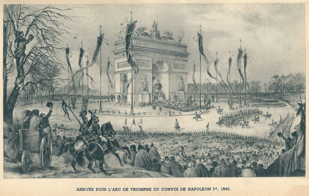 Napoleon's funeral carriage passing under the Arc de Triomphe, by Jean Valmy-Baysse