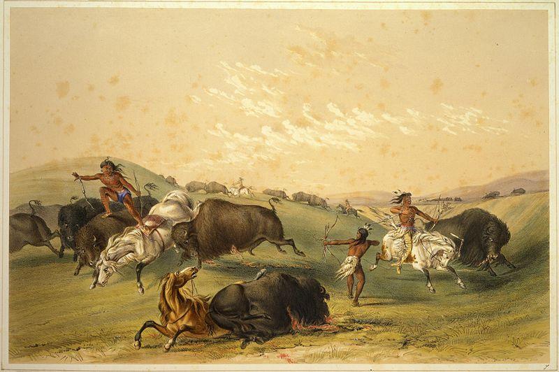 Buffalo Hunt: A Numerous Group, by George Catlin, 1844