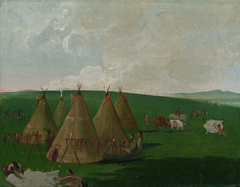 Sioux Encamped on the Upper Missouri, Dressing Buffalo Meat and Robes, by George Catlin, 1832