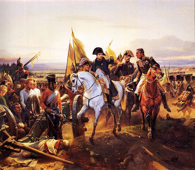 Napoleon in his chasseur uniform at the Battle of Friedland in 1807, by Horace Vernet