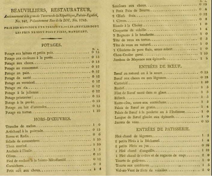 Some of the items on Beauvilliers' menu, circa 1802