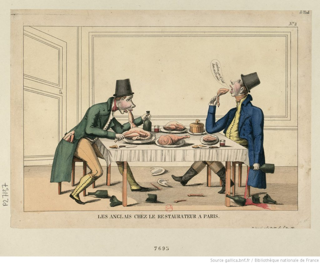 The English at a restaurateur in Paris. Source: Bibliothèque nationale de France