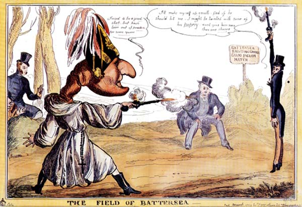 The Field of Battersea, caricature of the duel between the Duke of Wellington and the Earl of Winchilsea (drawing by W. Heath, published by Thomas McLean, 1829)