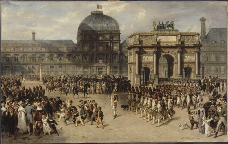 A military review during the Empire, showing the horses of Saint Mark (looted from Venice) on top of the Arc de Triomphe du Carrousel in Paris, by Joseph-Louis-Hippolyte Bellangé and Adrien Dauzatz, 1862