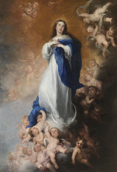 The Immaculate Conception of the Venerables by Bartolomé Esteban Murillo, circa 1678, looted from Seville by Marshal Soult in 1810. Returned to Spain in 1941, it resides in the Prado Museum in Madrid.