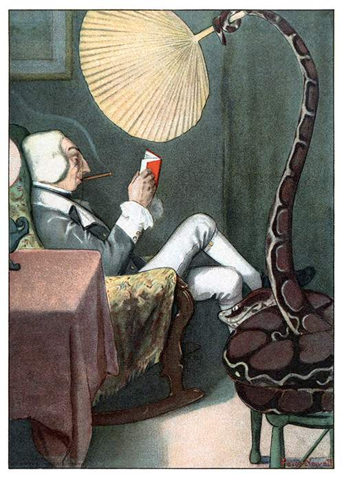 A snake tail in use. Illustration by Peter Newell from <em>Mr. Munchausen</em> by John Kendrick Bangs, 1901.