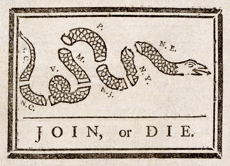 American political cartoon featuring a snake, attributed to Benjamin Franklin, 1754