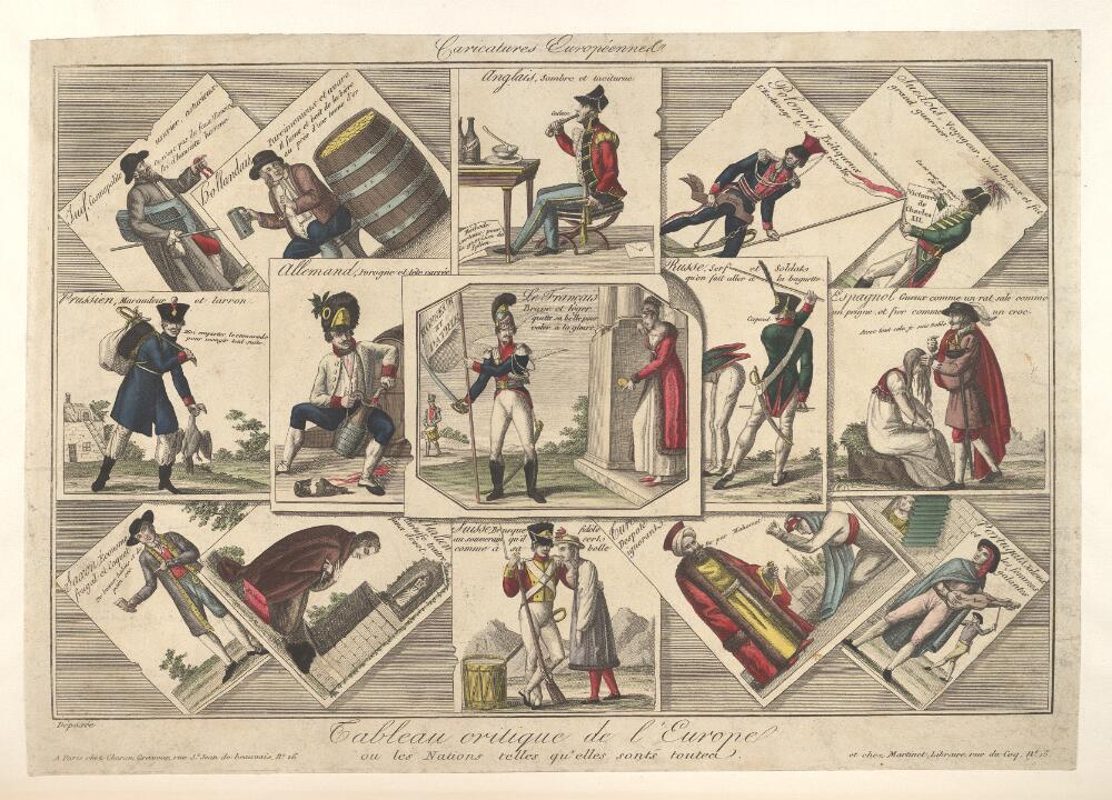 A medley of satirical prints showing national stereotypes