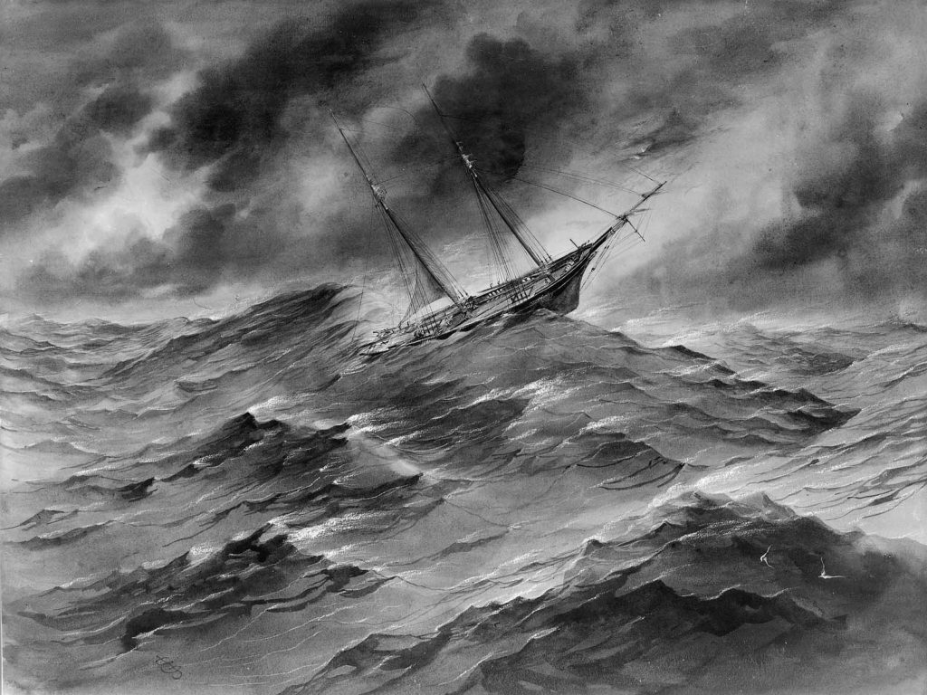 A schooner, larger than the Lively, in a storm