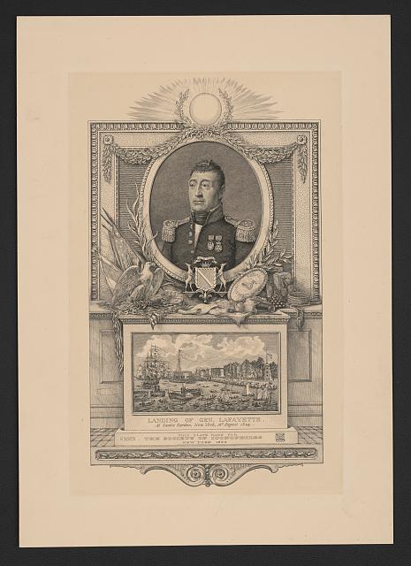 Lafayette landing in New York in 1824
