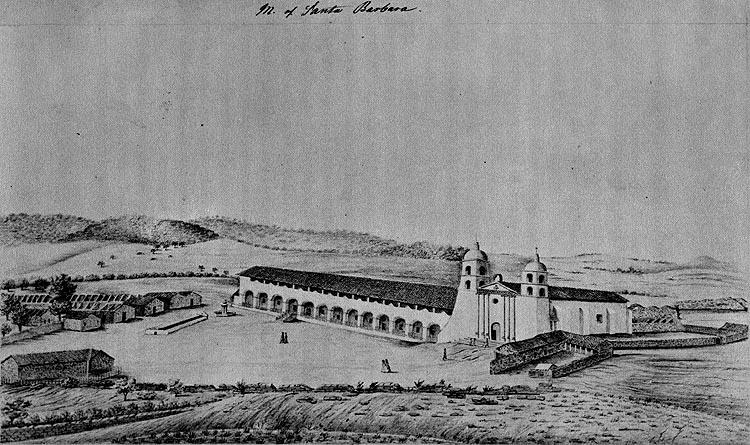 Mission Santa Barbara in 1856