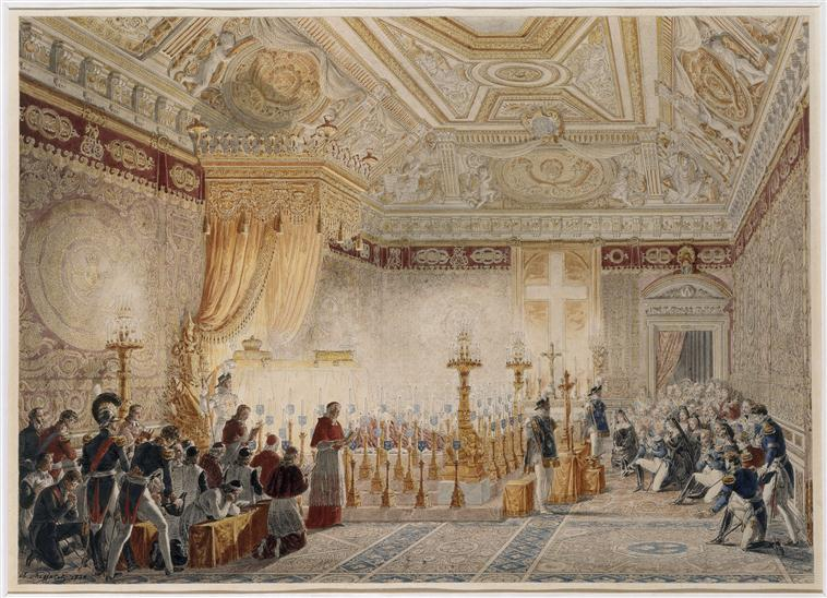 The body of Louis XVIII lying in state at the Tuileries, by Charles Abraham Chasselat, 1824