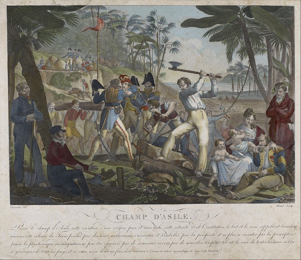 An idealized depiction of the Champ d'Asile, a military camp established by Bonapartists in Texas, by Joseph Claude Pomel, 1823