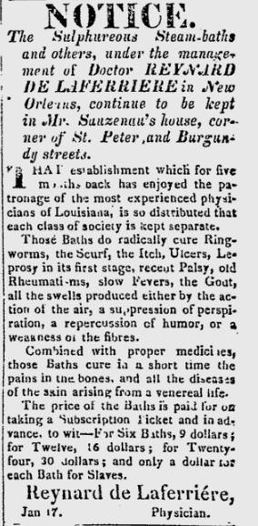 Advertisement for Dr. de Laferrière's sulphurous steam-baths, Louisiana Courier, May 1821