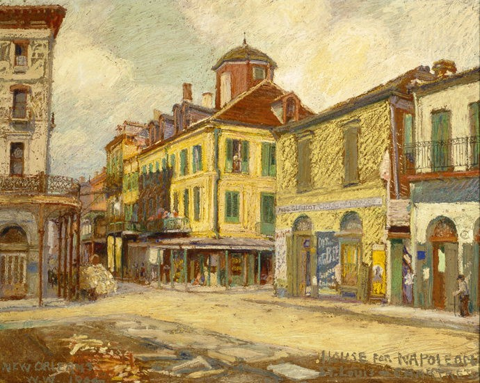 Napoleon House, New Orleans, 1904, by William Woodward, The Historic New Orleans Collection, Gift of Laura Simon Nelson, acc. no. 2006.0430.18. The history of Napoleon House inspired the novel Napoleon in America.